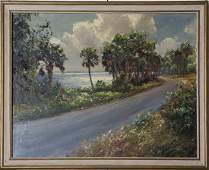LARGE BACKUS PAINTING FLORIDA LANDSCAPE FT PIERCE