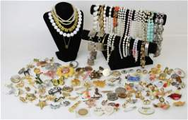 (4) POUNDS OF COSTUME JEWELRY PINS & VINTAGE