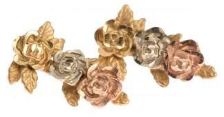 LADIES 14K TRI-COLORED GOLD FLOWER EARRINGS