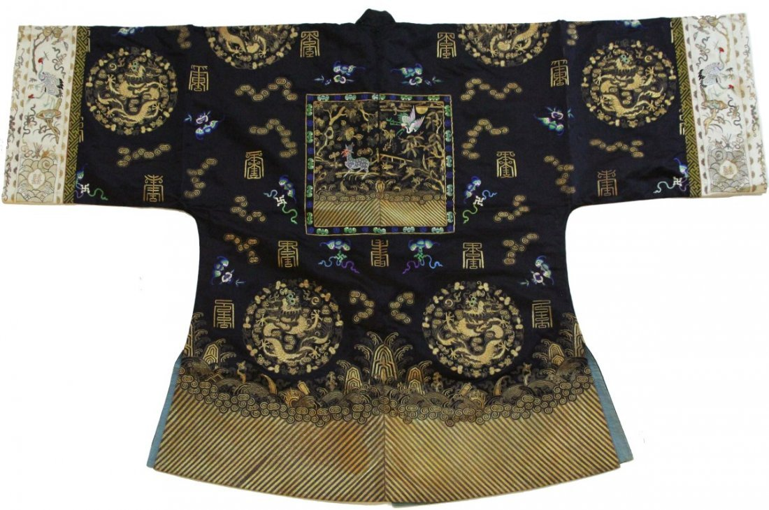 EARLY 20 C CHINESE SILK EMBROIDERED DRAGON ROBE