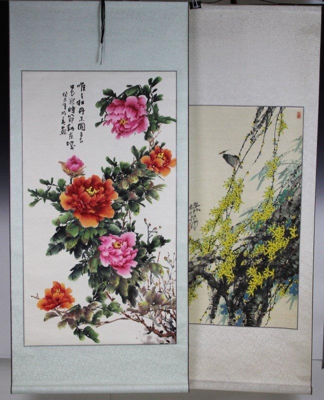 (2) SCROLLS BIRD FLOWER PEONY