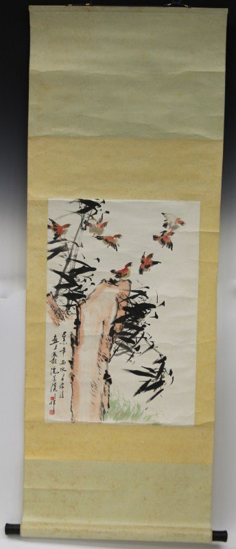CHINESE CALLIGRAPHY SCROLL BIRDS & LEAVES