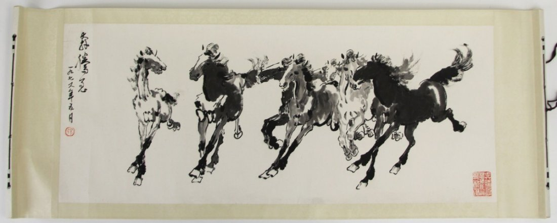 AFTER XU BEIHONG CHINESE SCROLL HORSES