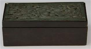 19th C CHINESE CARVED JADE DRAGON WOODEN BOX