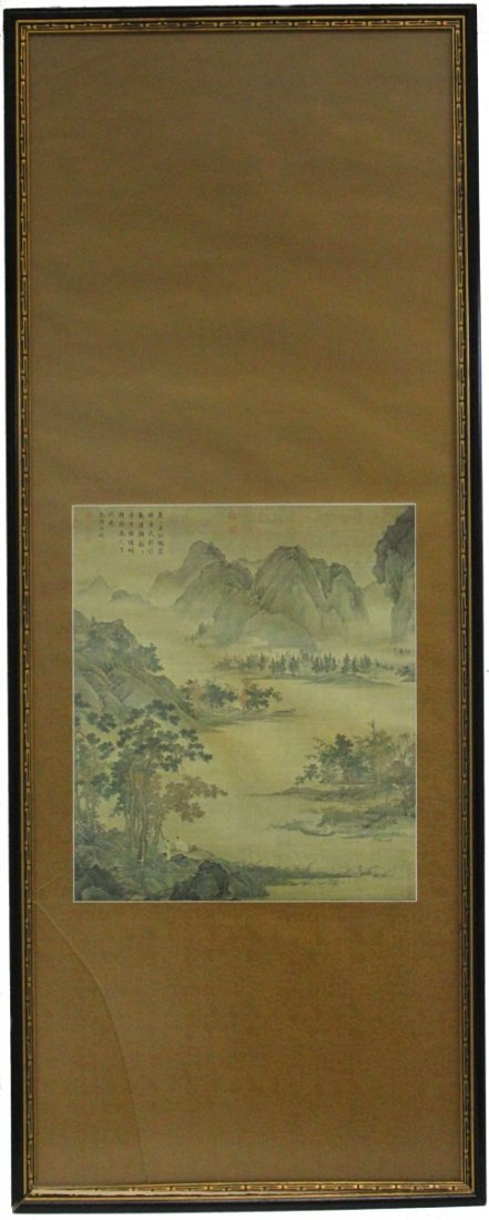 LARGE FRAMED CHINESE PICTORAL SCROLL