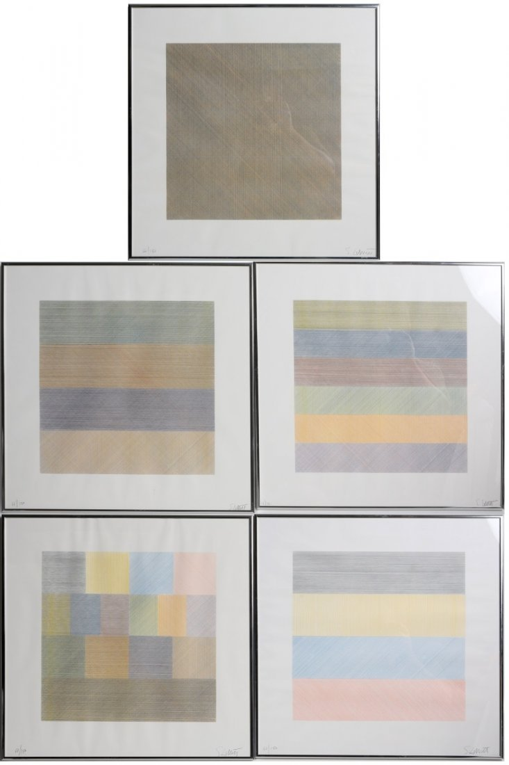 SOL LEWITT FIVE SILKSCREEN PRINTS 1970