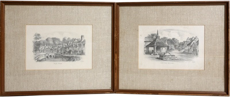PAIR OF SIGNED CASTLE COMBE PENCIL DRAWINGS