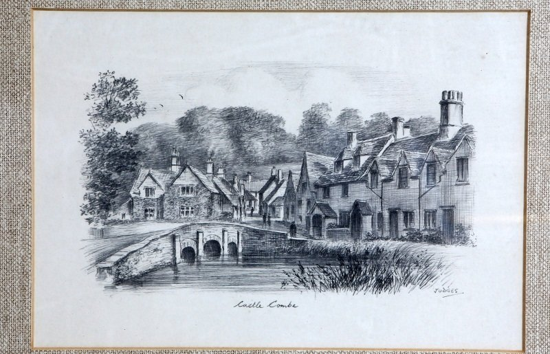 PAIR OF SIGNED CASTLE COMBE PENCIL DRAWINGS - 2