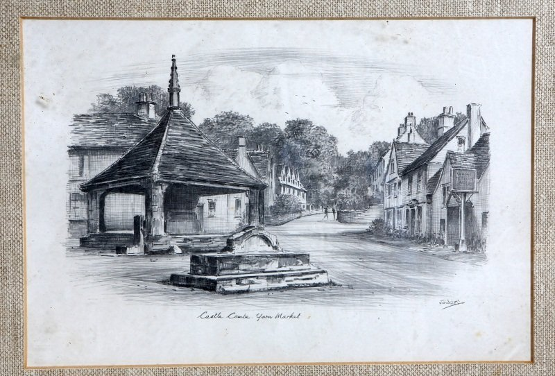 PAIR OF SIGNED CASTLE COMBE PENCIL DRAWINGS - 3