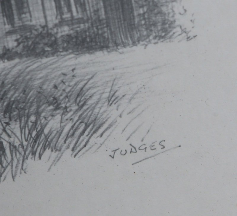 PAIR OF SIGNED CASTLE COMBE PENCIL DRAWINGS - 4