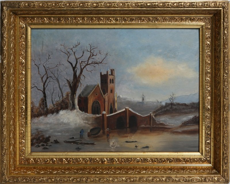 19TH C OIL PAINTING ON FROST & ADAMS ACADEMY BOARD