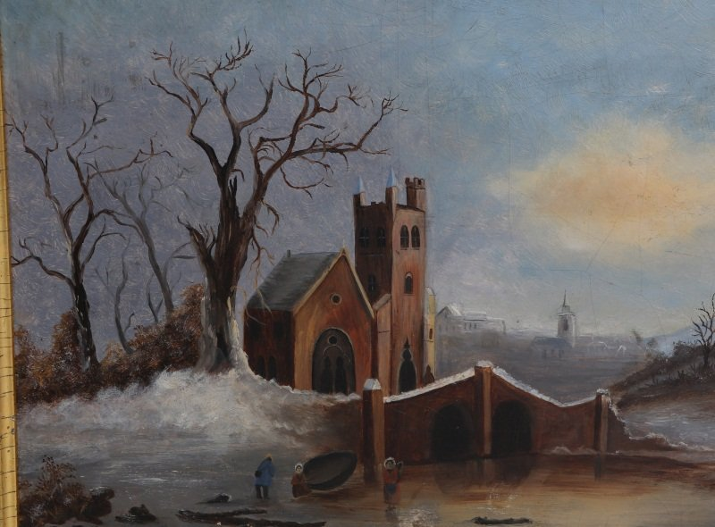 19TH C OIL PAINTING ON FROST & ADAMS ACADEMY BOARD - 2