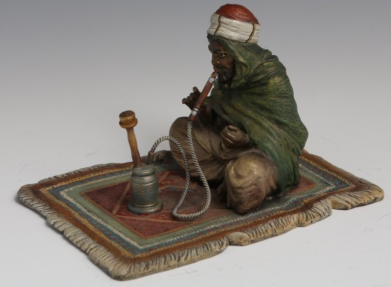 BERGMAN COLD-PAINTED BRONZE MAN WITH HOOKAH