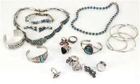 LARGE LOT OF STERLING & TURQUOISE JEWELRY