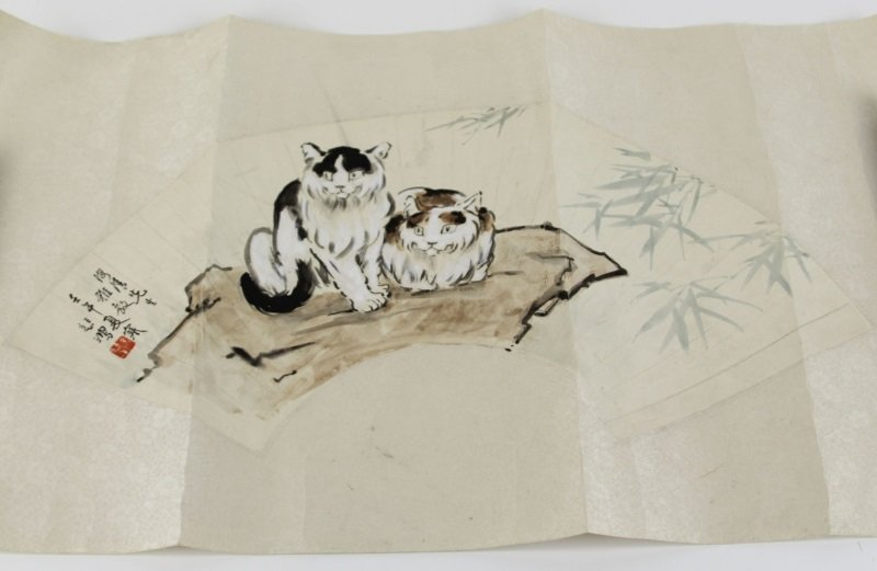CHINESE PAINTED SCREEN OF TWO CATS