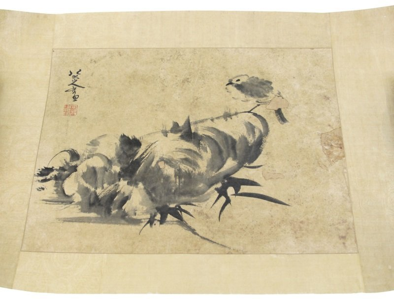 CHINESE PAINTED SCROLL LANDSCAPE