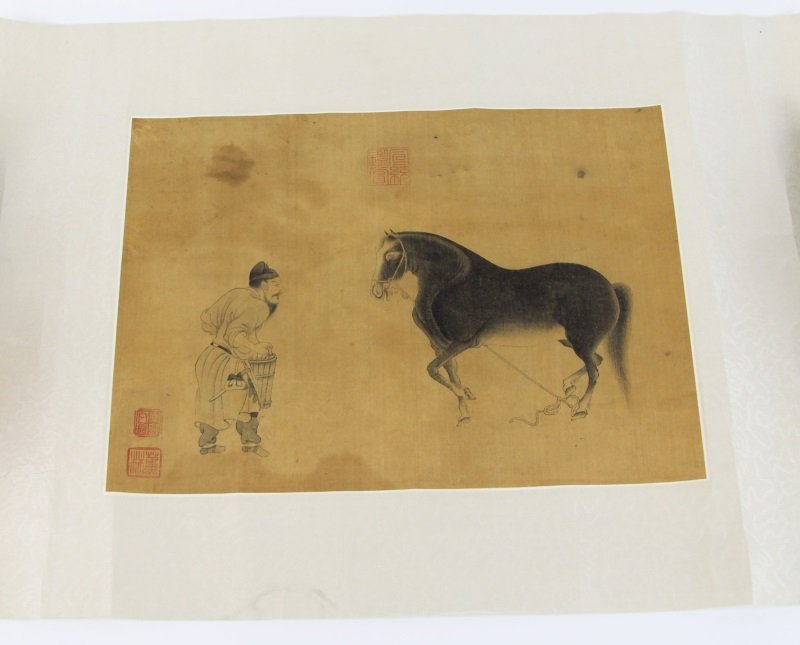 CHINESE SCROLL OF MAN WITH HORSE PRINT