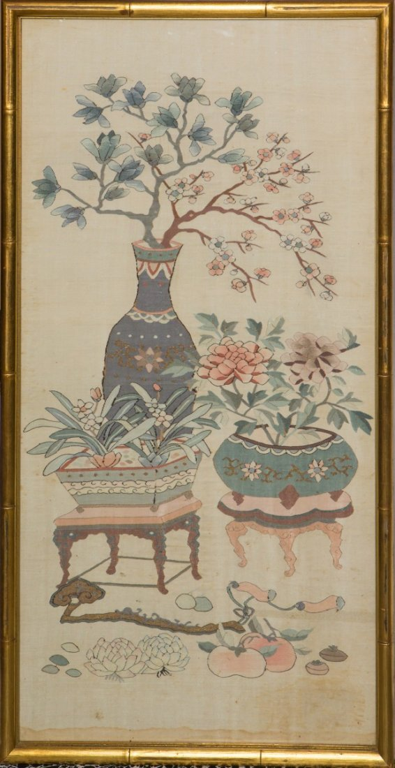CHINESE SILK EMBROIDERY EIGHT PRECIOUS THINGS