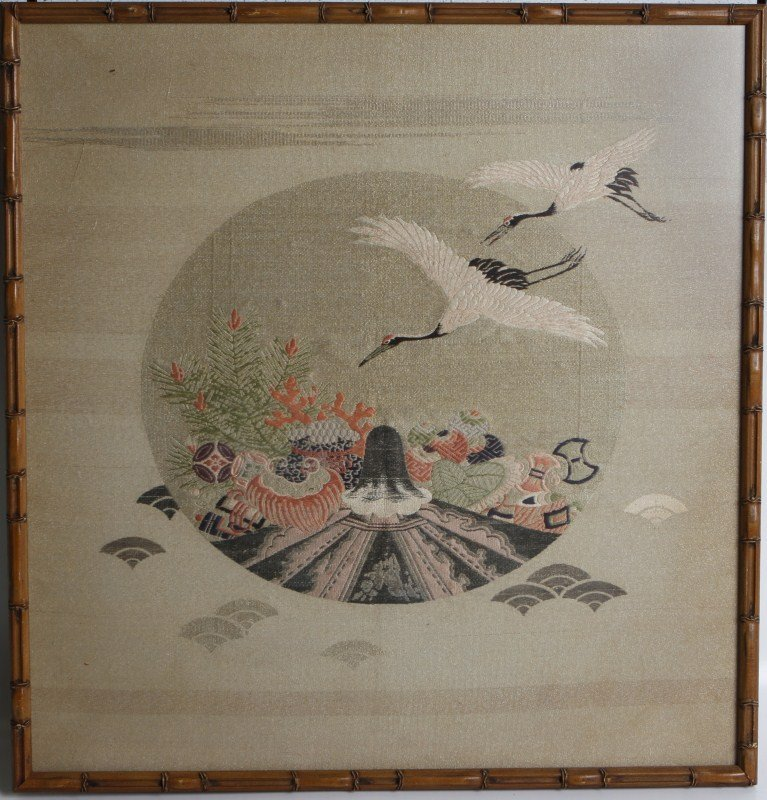 FRAMED JAPANESE EMBROIDERY OF CRANES