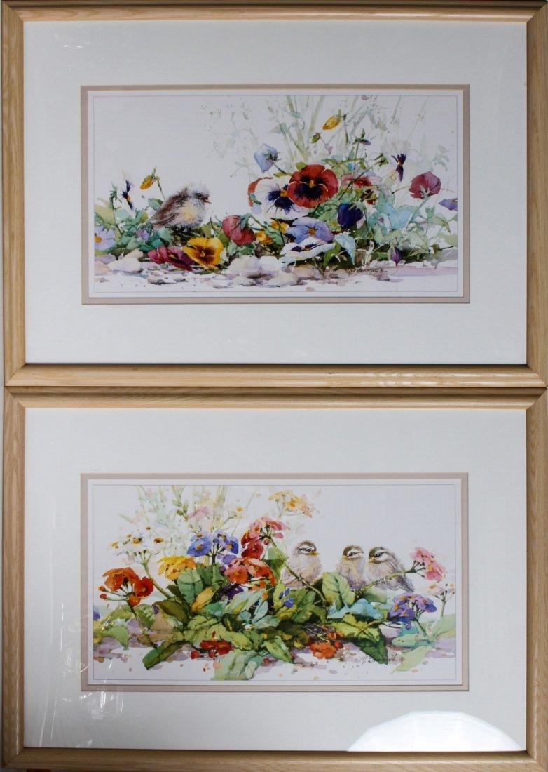 (2) MARILYN SIMANDLE PRINTS BIRDS & FLOWERS FRAMED