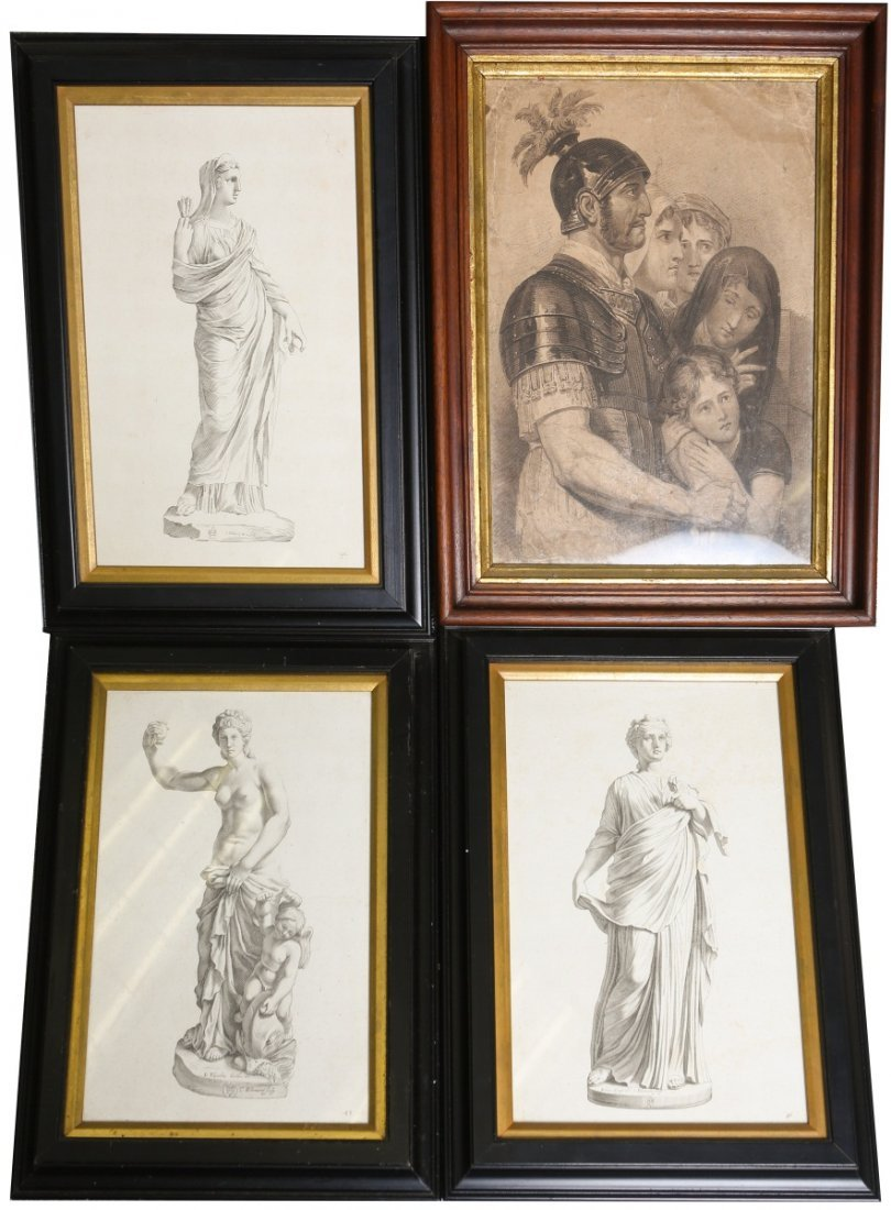 (4) FRAMED ETCHINGS AND ENGRAVING