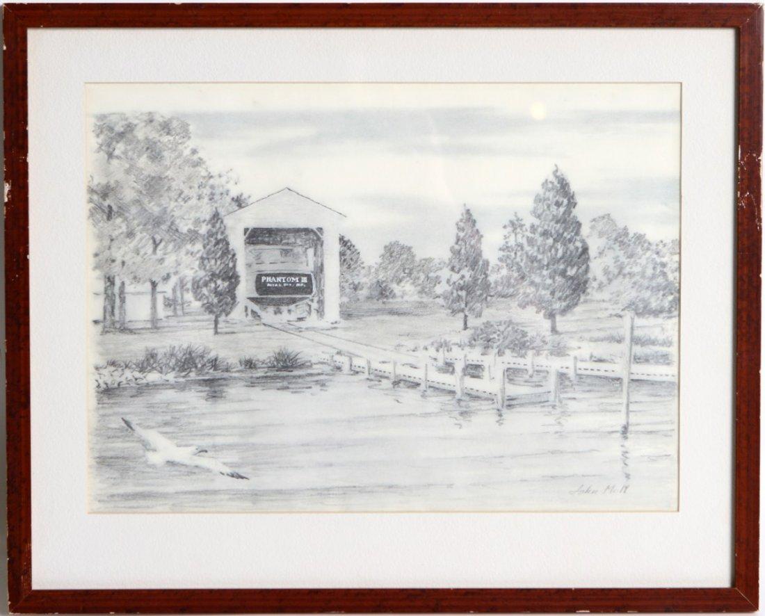 JOHN MOLL PENCIL DRAWING OF A BRIDGE