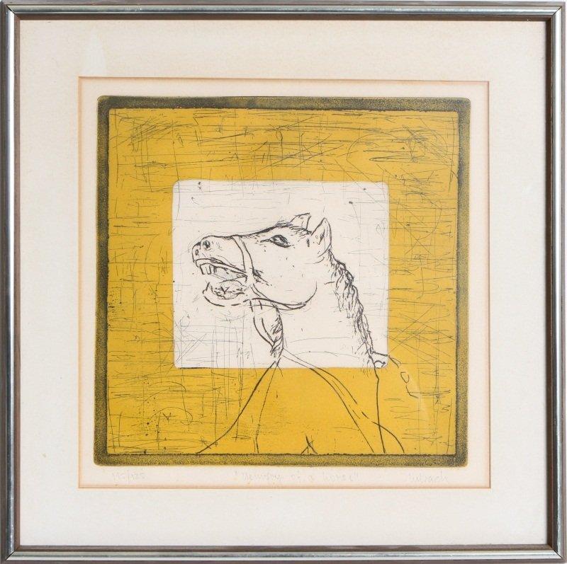 """JOSE URBACH """"MEMORY OF A HORSE"""" ORIGINAL ETCHING"""