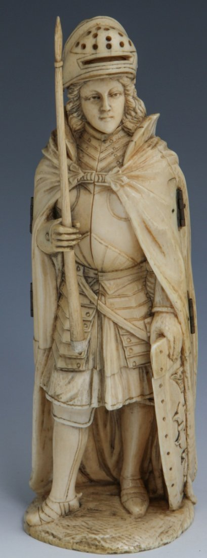 EUROPEAN CARVED IVORY JOAN OF ARC TRIPTYCH