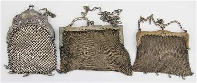 3 VINTAGE STERLING SILVER MESH PURSES
