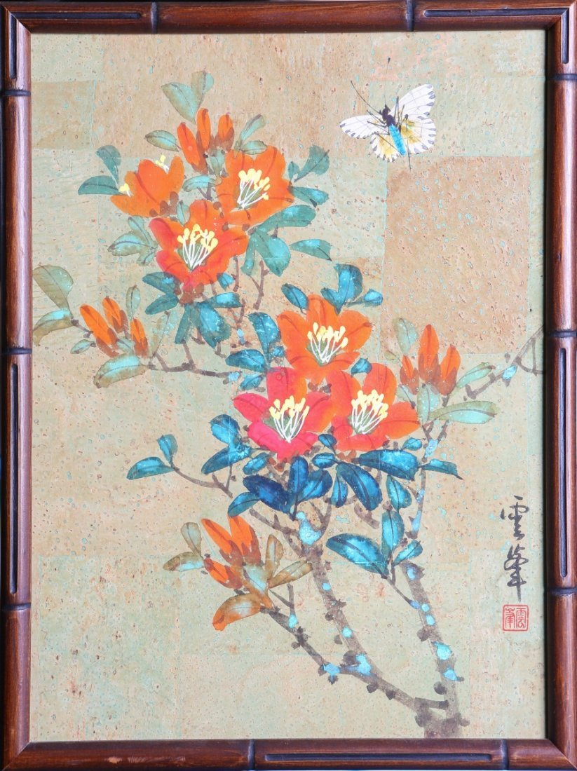 CHINESE CORK PAINTING FLOWERS & BUTTERFLY SIGNED