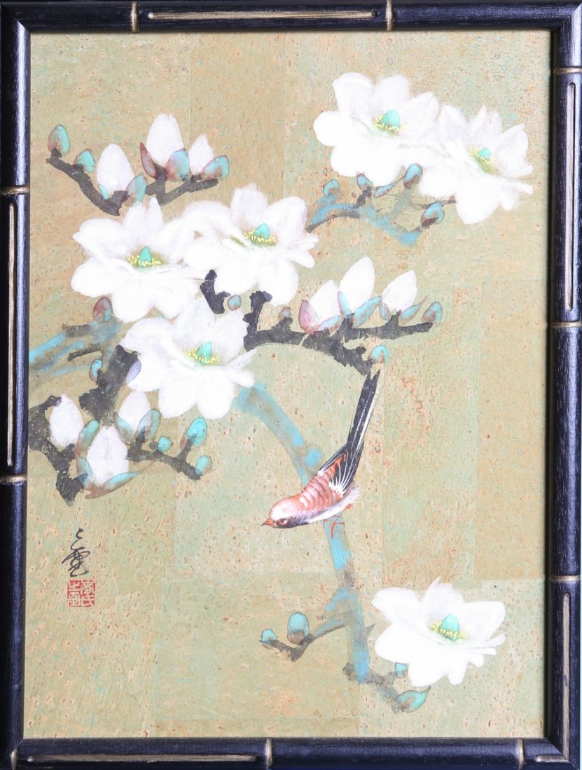 CHINESE CORK PAINTING FLOWERS & BIRD SIGNED