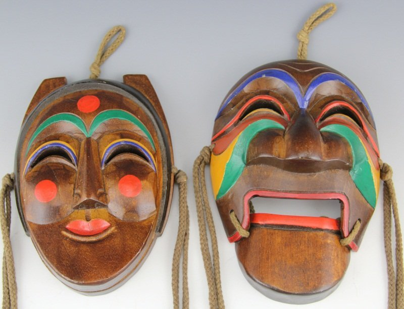PAIR OF REPRODUCTION HAHOE THEATRICAL DANCE MASKS - 2