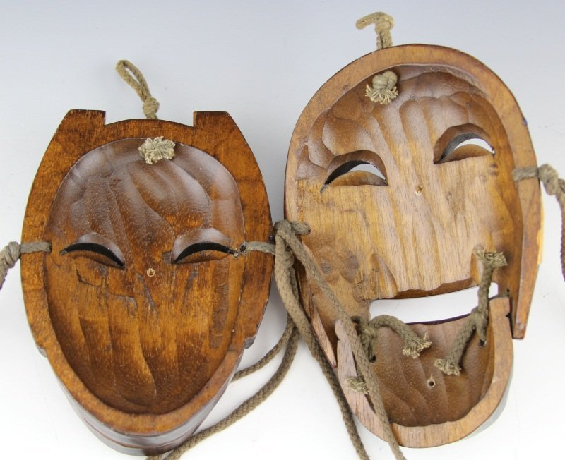 PAIR OF REPRODUCTION HAHOE THEATRICAL DANCE MASKS - 3