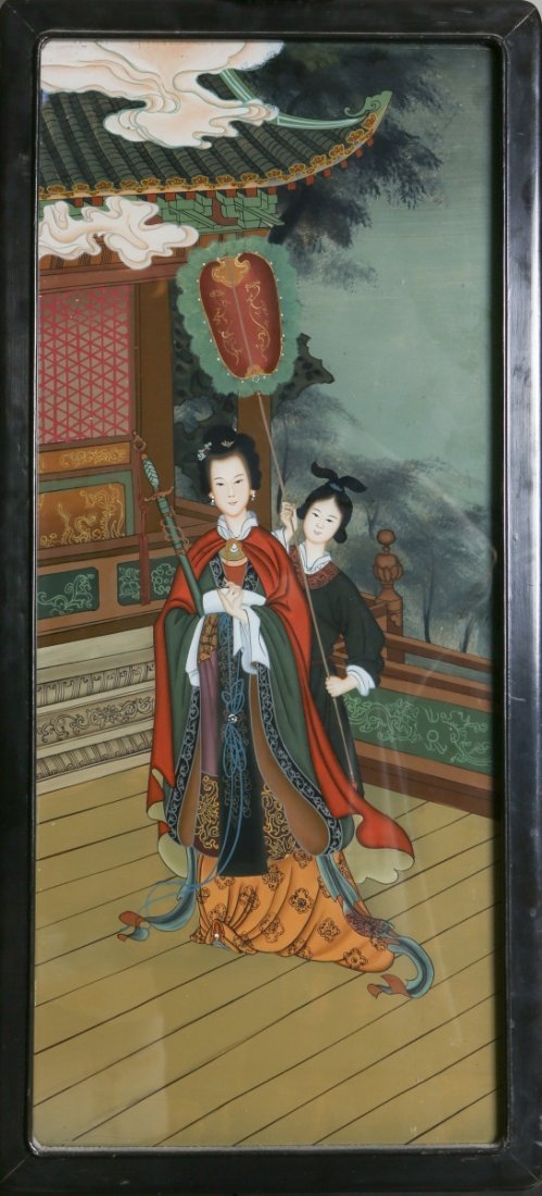 CHINESE REVERSE GLASS PAINTED WALL PANEL