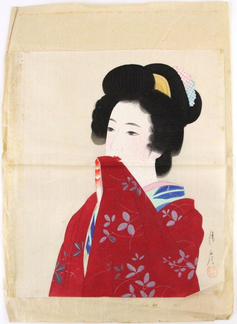 LOOSE JAPANESE GEISHA WATERCOLOR ON SILK