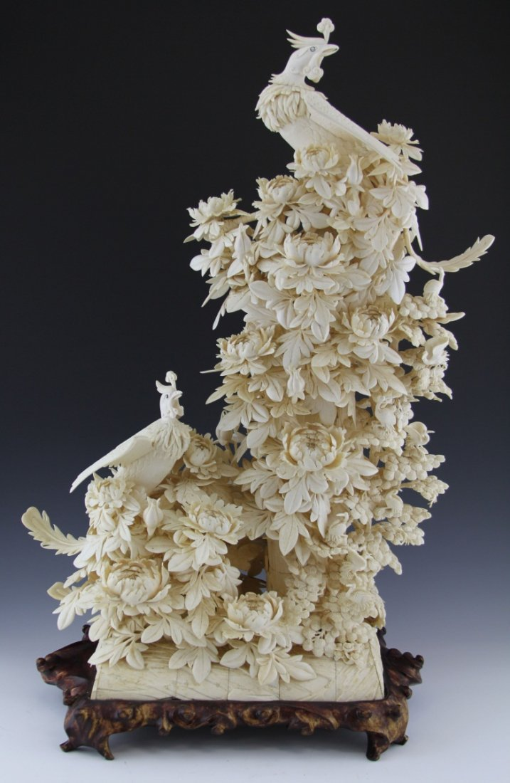 LARGE CHINESE IVORY PHOENIX AND FLOWERS W/ CRANES
