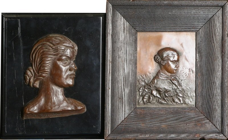 (2) COPPER RELIEFS OF YOUNG WOMEN