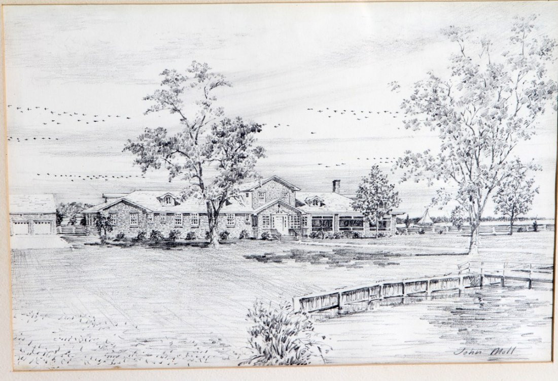 JOHN MOLL PENCIL DRAWING OF A RESIDENCE - 2