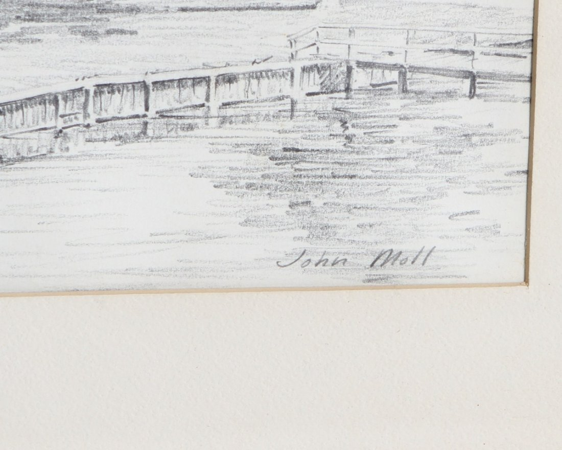 JOHN MOLL PENCIL DRAWING OF A RESIDENCE - 3