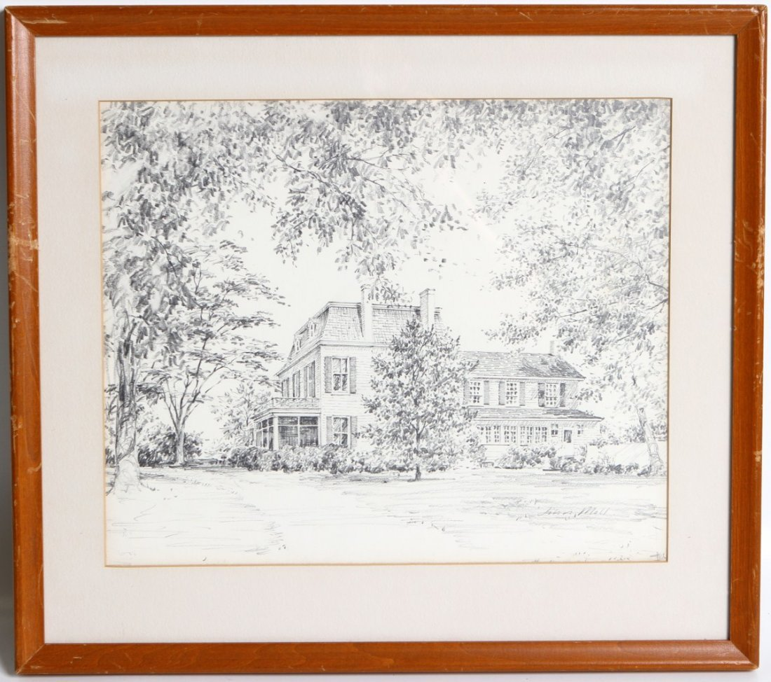 JOHN MOLL PENCIL DRAWING OF A RESIDENCE