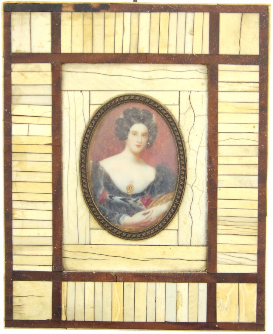 EUROPEAN MINIATURE PORTRAIT OF LADY TO IVORY