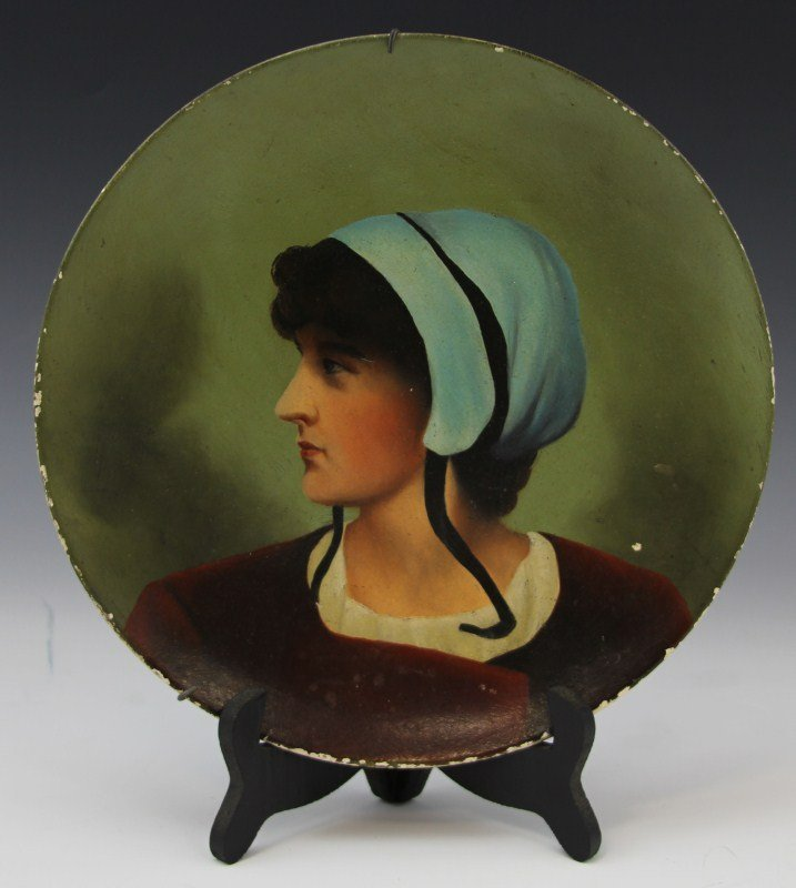 HAND PAINTED COLONIAL PORTRAIT PLATE WITH HANGER