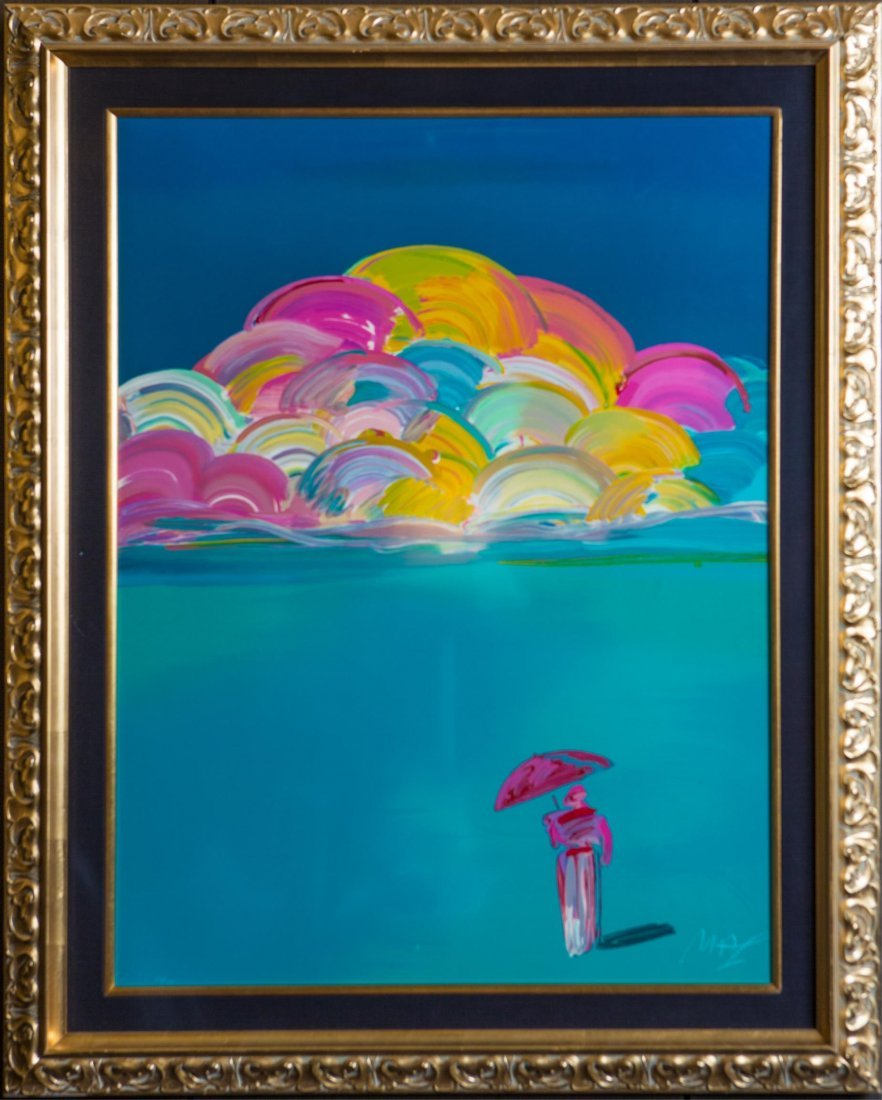 PETER MAX UMBRELLA MAN RAINBOW SKY SERIGRAPH 1990