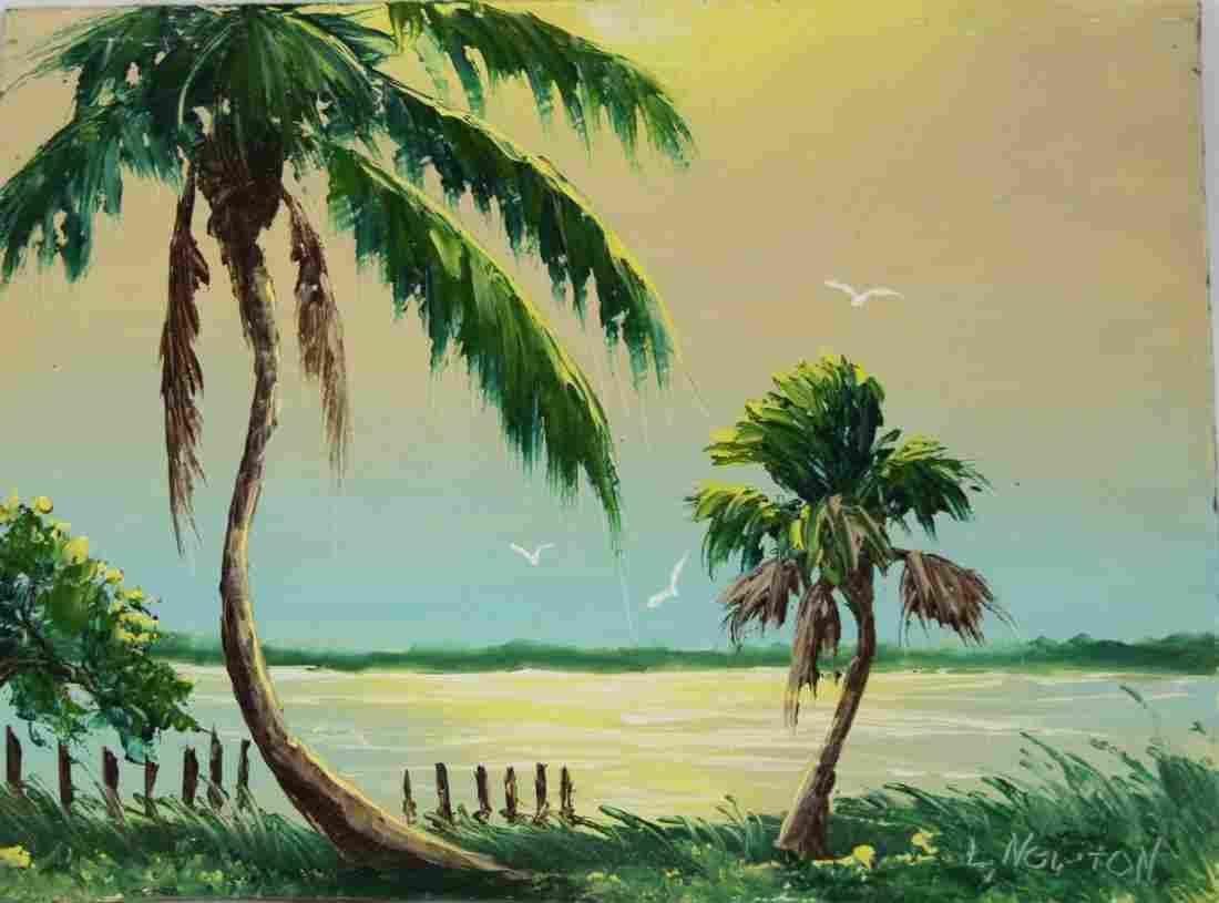 LEM NEWTON FLORIDA HIGHWAYMEN PALM TREES PAINTING