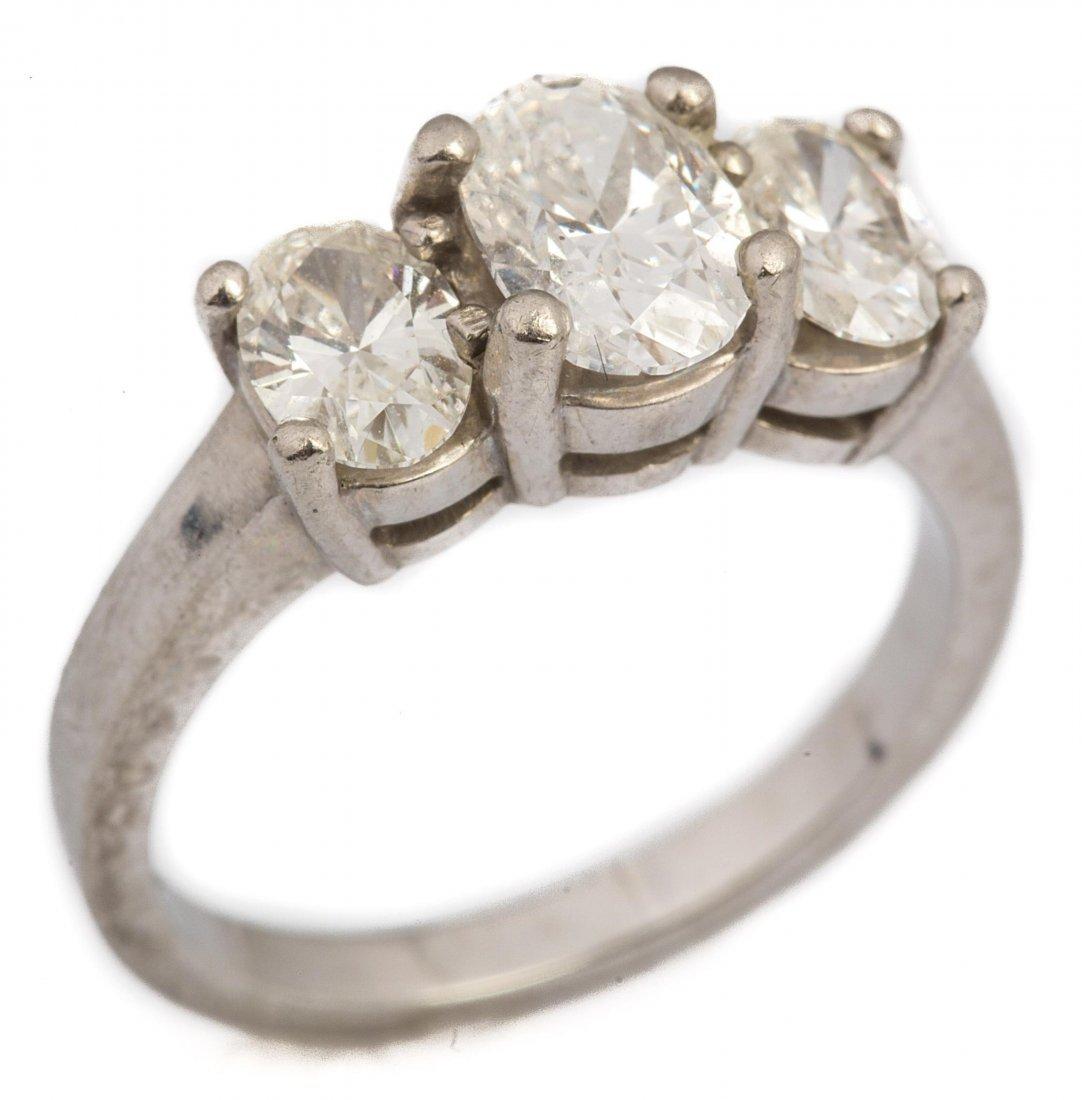 LADIES PLATINUM & DIAMOND 3 STONE RING