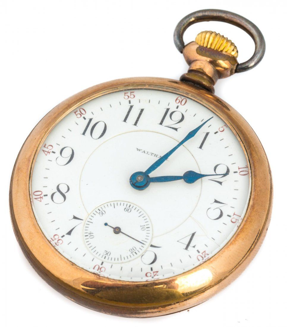 WALTHAM MENS OPEN FACE GOLD FILLED POCKET WATCH