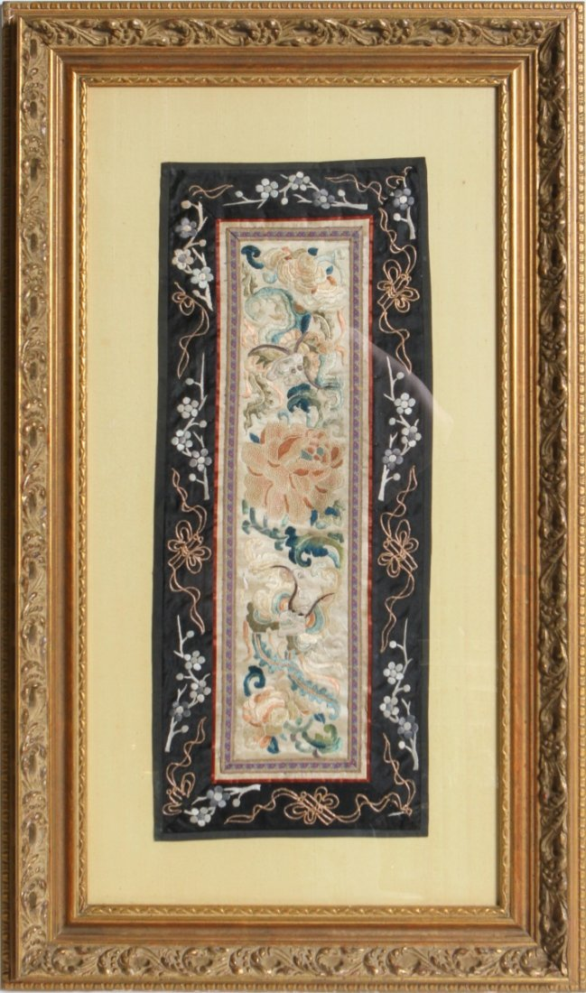 FRAMED CHINESE SILK EMBROIDERY DRAGONS