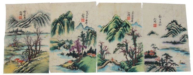 (4) MULTICOLOR ASIAN PRINTS ON TREATED LINEN