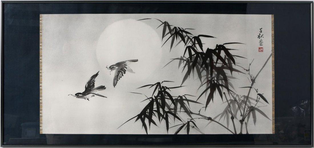 CHOW CHIAN-CHIU SUMI-E INK PAINTING BIRDS & BAMBOO