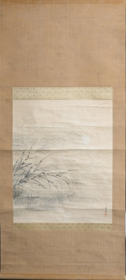 CHINESE CALLIGRAPHY SCROLL BEACH GRASS